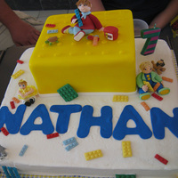 Nathan's Lego Cake This was a lego cake for my grandson. I made figurines of my grandkids and place them in the cake with the legos. The animals are a...