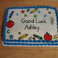 Back To School Cake 9x13 sheet cake, marble cake with almond and vanilla buttercream. Celebrating the 1st day of kindergarten.