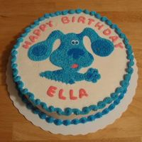 Ella's Blue's Clues Cake Single layer 10-inch round dark chocolate fudge cake with vanilla buttercream.