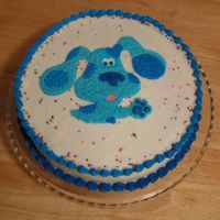 Blue's Clues  One layer 10-inch round yellow cake with a layer of chocolate braviarian cream and raspberry filling, frosted with vanilla buttercream and...