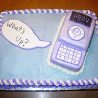 Cell Phone Birthday  This is a cake for a 14 year old's birthday. She was getting a cell phone for a gift! It is a yellow cake with buttercream for the...