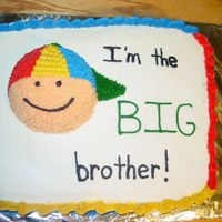Big Brother Cake Cake was 1/2 vanilla, 1/2 chocolate with BC icing. Cake was designed to match a sweater that the big brother was wearing for his big...