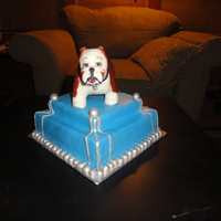 10Th Street Bulldogs This is a banana cake with chocolate ganache filling and covering. Then covered with MMF. The dog is sculpted out RC treats and then...