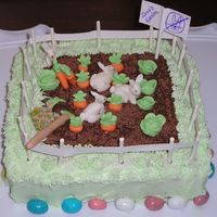 Eastercake.jpg This was my Easter cake. It is my daughter's garden invaded by bunnies. It is buttercream with fondant decoration. The dirt is grated...