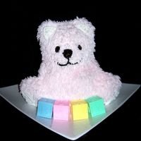 "Cuddly Bear   Wilton's stand up teddy bear. Poundcake with IMBC. Eyes and nose are covered with piping gel to look ""wet."""