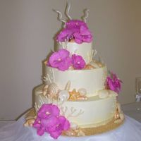 "Jackson-Johnson Wedding  3 tiered (6"", 10"", 14"") wedding cake iced in SMBC. Top tier is WASC with raspberry perserves, middle tier is Hawiian delight..."
