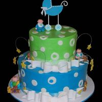 "Oh Boy! 2 tiered baby shower cake (8"" chocolate cake on 12"" vanilla cake) iced in BC. MMF accents. Fondant carriage and babies. This was..."