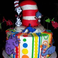 Tribute To Dr. Seuss  This was for a lady's birthday who loved Dr. Seuss. Cake iced in BC with mmf accents. Characters were cut out of foam since this was a...
