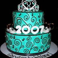 Class Of 2007  This cake was done for a young lady graduating from HS. I was told that her favorite colors were turquoise and brown and that she was...