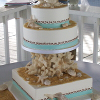 Coral Cake Buttercream cake with fondant bands and chocolate shells, custom cake divider