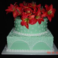 "Green Cornelli Lace Cake Dummy with corneli lace and dots with artificial flowers. Not real happy that my ""arches"" aren't consistent, but this..."