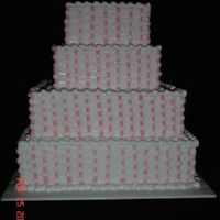 Pink Basketweave Cake Dummy pink basketweave design. I need to work on my vertical lines a little bit! Thanks for looking!