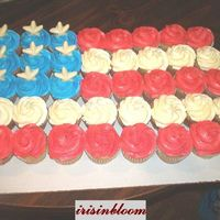 Red, White And Blue Cupcakes Carmal cupcakes with bc and chocolate stars for work on Memorial Day.