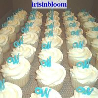 Monogram Bridal Shower Cupcakes White cupcakes with bc icing and blue candy melt for initial:)