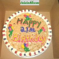Birthday Cookie Cake Chocolate chip cookie cake.