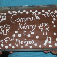 My Cake For Kenny And Melissa cake i made for my youth pastors who were made official the other day...choco with my signature cocoa frosting...im thirteen, so this is a...