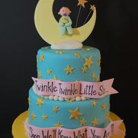 Moon Baby My friend found the cake she wanted online so I can't tell you who the original design was. I love all the stars on this cake. Moon,...