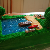 Camping Cake  This was for a fundraier for the kids at church they were all raising money to go to camp. the frosting was all buttercream, the trees RKT...