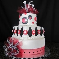 Sweet 16 A friend called a couple days ago to see if I could make a 16th birthday cake for her daughter. She wanted it black, white & red and...