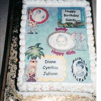 B/day Cake For 4 Different Women. Was asked to do a b/day cake for 4 women. I got some baby pictures from Donna and reproduced the pictures and placed them on the cake. I...