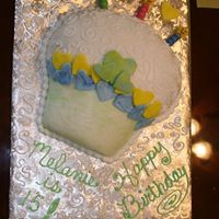 Cupcake Birthday Cake French vanilla cake covered in rolled buttercream icing and decorated with rolled buttercream and regular buttercream icing flavored with...