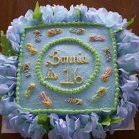 Happy 16Th Birthday Bonnie This cake was french vanilla with a vanilla/almond icing. Bonnie's theme was Hawaiian and used the invitation as my inspiration for...