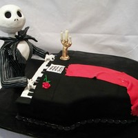 Jack Skellinton This was a cake for an 80th birthday on Halloween. Jack is made from pvc pipe and modeling chocolate covered with fondant. The cake was a...
