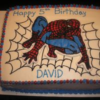 Spiderman My five year old son's birthday cake! He loved it and the expression on his face was priceless! (Thanks bellsnbows for the inspiration...