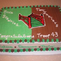 "Girl Scouts I made this cake for a brownie to girl scouts bridging ceremony. I made a mistake because the ""once brownies"" should have been on..."