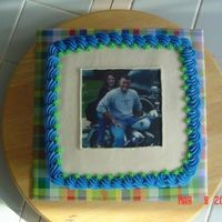 Square Photo Cake  This is White DH mix with extender recipe added, frosted in buttercream. The photo is an edible image from the customer. Her husband is in...