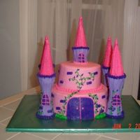 Castle Cake Thanks to laborrn2 for this cake design!!! I pretty much copied everything she did. The top layer is chocolate and the bottom is yellow....