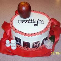 "Twilight2 Another Twilight cake. Marble 8"" round. . Chess pieces were fondant. Apple, ribbon & flower from the craft store. Freehanded the..."