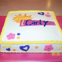 Icarly2 10' square marble cake. BC icing with fondant accents. This was for the same little girl that I did the Laptop for. She had a kid...