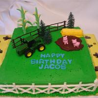 John Deere For a little boy who loves Tractors. Tractor, fence, and trees was from a cake kit. Corn stalks and Pigs are fondant. Hay bale is a granola...