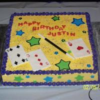"Magic Party Fun Fetti 12"" square. BC icing and Fondant accents."