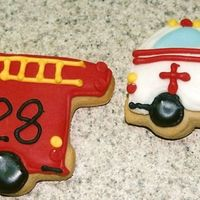 Fire Truck And Ambulance   Made these cookies for an EMT and her Fireman husband who both volunteered their time to teach our Homeschool Group First Aid!