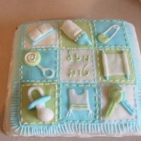 Boy's Baby Quilt My first attempt at home fondant! I still have issues covering the sides. Fringe and quilting done in royal icing.