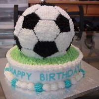 Birthday Soccer Cake First time using this pan. It turned out really well inspite of trying to work the pattern. PS bless his heart, my hubby did all the grass...