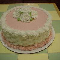 Birthday Cake For Older Lady The customer didn't know what she wanted. Its carrot cake with cream cheese frosting. Had trouble with the pink color it had dark...