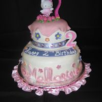 Mallorie's Hello Kitty 2Nd Birthday White with buttercream frosting and fondant accents. Thanks to all of the Hello Kitty cake creators who inspired me. I kind of used a &quot...