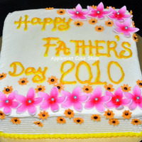 Father's Day Cake Moist Marbled cake with butter icing & fondant flowers, airbrushed. Thank you for looking.