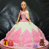 Princess Doll Cake Made for a 5yr old lovely girl. Moist Chocolate cake with rich fudge, & fondant. Thank you for looking.
