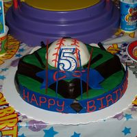 Baseball Birthday Cake First Fondant cake!! I didn't have a round cake pan so I made a 4 inch round cake then formed it into a ice cream dish and froze it. I...