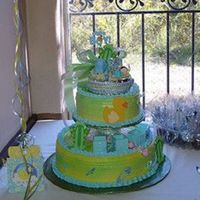 Monica's Froggy Theme Baby Shower Cake It's been Froggies ever since then, it's Vanilla with Strawberry Filling and Whipped Icing