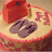 Girly Birthday Cake Buttercream with Gumpaste pocketbook, flip flops and tube of lipstick.