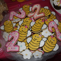 Bee's, Flowers, And #2 Cookies.... I made these cookies to go along with a cupcake tower....birthday party theme was 'sweet as can bee'. I couldn't find a bee...
