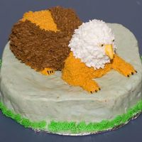 Griffin My son requested a Griffin for his 18th birthday cake. This is what I came up with. The head is rice crispy and the rest is cake. All iced...