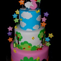 "Dora The Explorer! All fondant and gumpaste starts. 6"", 9"" and 12"" all tiers 6"" tall!!! Loooove! TFL"