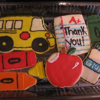 Teacher Appreciation Cookies I did these in May for all of my son's teacher's, they were fun, school bus decorator set from Karen's Cookies(love her kits...