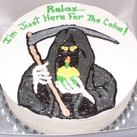 Grim Cake Grim reaper cake for a 50th b-day. Covered and decorated in BC.